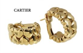 hoop earrings (clip with pin), CARTIER 1994, double hearts, yellow gold 750/000, signed G ...