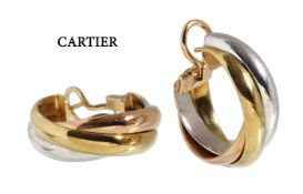 hoop earrings, a classic item  by CARTIER from the series TRINITY, yellow gold/white ...