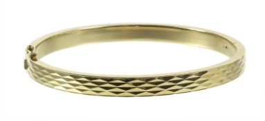 bracelet, yellow gold 585/000, faceted surface, hinge movement with box clasp and safety ...