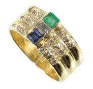ring-threefold, yellow gold 750/000, in the middle 1 diamond c. 0.24 ct tw-vvsi ...