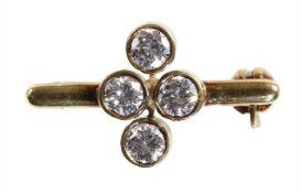 small brooch, yellow gold 585/000 (checked), 4 brilliants c. 0.50 ct tw-vsi, c. 20.7 x 12.0 mm