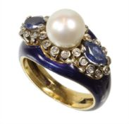ring Asia, yellow gold 800/000, central Akoya pearl diameter = 7.8 mm, 2 sapphires in navet c. ...