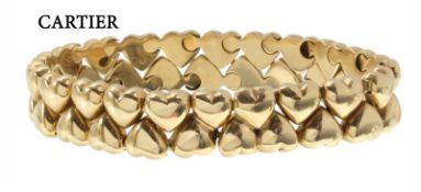 bracelet, CARTIER 1994, double hearts, yellow gold 750/000, signed diameter 12776 Cartier ...