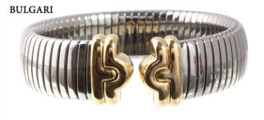 bracelet classic, BULGARI PARENTESI, steel, yellow gold 750/000, signed BULGARI 750 GOLD AND ...