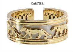 pharaoh bracelet/bangle, CARTIER Model Panthère, yellow gold/white gold 750/000, signed 739739 ...