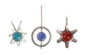lot: VINTAGE pendant 1970s (Scandinavia), silver 835/000 and  925/000, 1 pendant turquoise ...