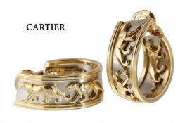 hoop earrings by CARTIER PANTHER, yellow gold/white gold 750/000, signed: Cartier 685699, ...