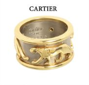 ring by Cartier, panther, yellow gold/white gold 750/000, signed: Cartier 720416, three ...