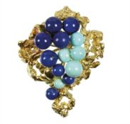 brooch VINTAGE, yellow gold 750/000, signed: GROSSE GERMANY 1967 (Pforzheim), turquoise and ...