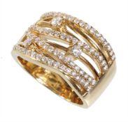 ring CHRIST, yellow gold 585/000, 3 brilliants c. 0.15 ct white, 68 brilliants c. 0.55 ct ...
