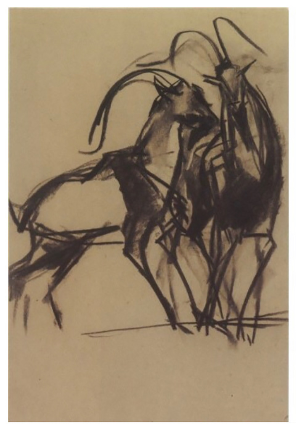 George Lappas (Greek, 1950-2016) (AR), 2 drawings in a frame, charcoal on paper - Image 2 of 3