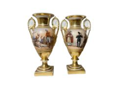A pair of 19th c. French Vases, gilted and hand painted with oriental scenes of Greeks and Turks