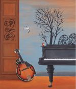 Lena Dimova (Greek/Russian), musical roots, acrylic on panel, 95 x 80 cm.