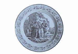 """A French Philhellenic porcelain plate """"Les Turcs emmenant les femmes et les enfants Grecs"""""""