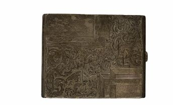 A c. 1900 silver cigarette case with incised decoration. It is stamped 900. 7.5 x 10 cm.