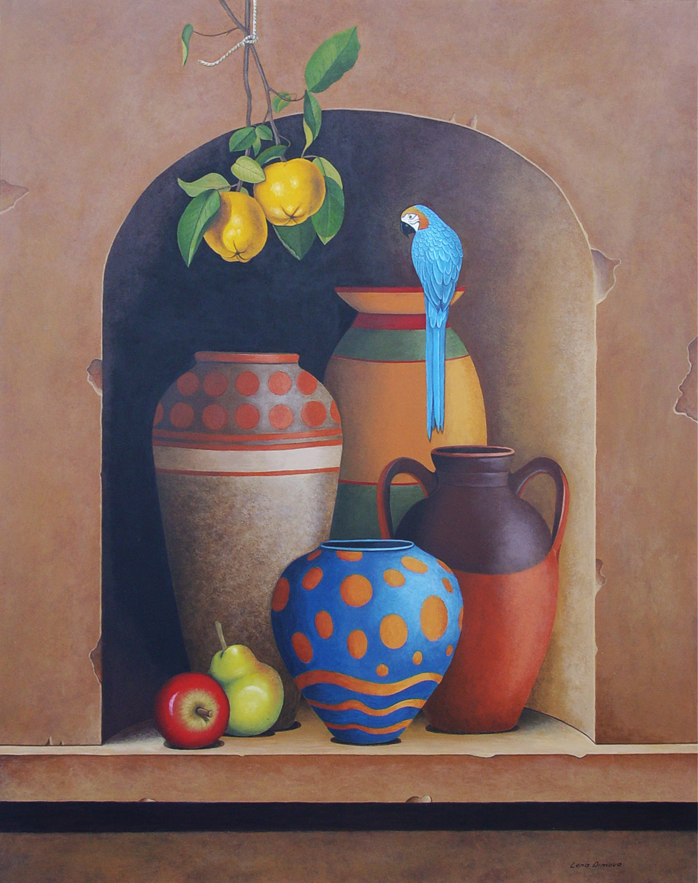 Lena Dimova (Greek/Russian), still life with parrot, acrylic on panel, 80 x 54 cm.