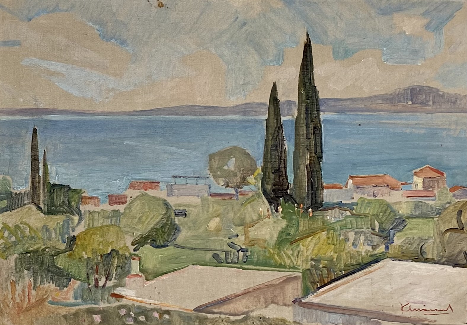 Kostas Linakis (Greek, 1917 - 2000), A Greek village by the sea, oil on wood, 31 x 47 cm.