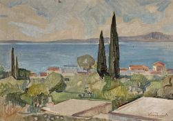 Kostas Linakis (Greek, 1917 - 2000), A Greek village by the sea, oil on wood, 31 x 47 cm.