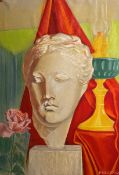Sarantis Karavousis (Greek, 1938 - 2011) (AR), Marble Greek bust with pink rose and oil lamp, pastel
