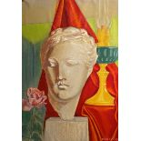 Sarantis Karavousis (Greek, 1938 - 2011) (AR), Marble Greek bust with pink rose and oil lamp, pastel