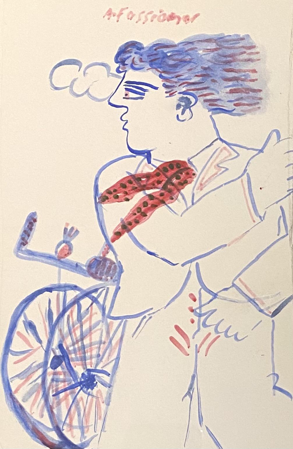 Alekos Fassianos (Greek, born 1935) (AR), Cyclist with Scarf, Mixed media on paper, 23 x 15 cm.