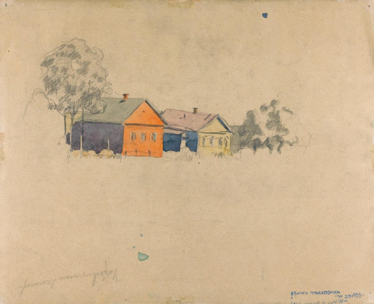 Ivan Kliun (Russian, 1873-1942), Village B. Gorki (the second village), 1929, watercolor - Image 2 of 2