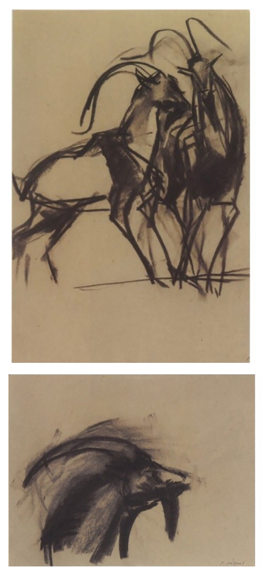 George Lappas (Greek, 1950-2016) (AR), 2 drawings in a frame, charcoal on paper