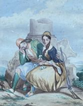 A 19th century painting, Greek Lovers, pastel on paper, 26 x 20 cm. Notes: it is signed J.Palmer