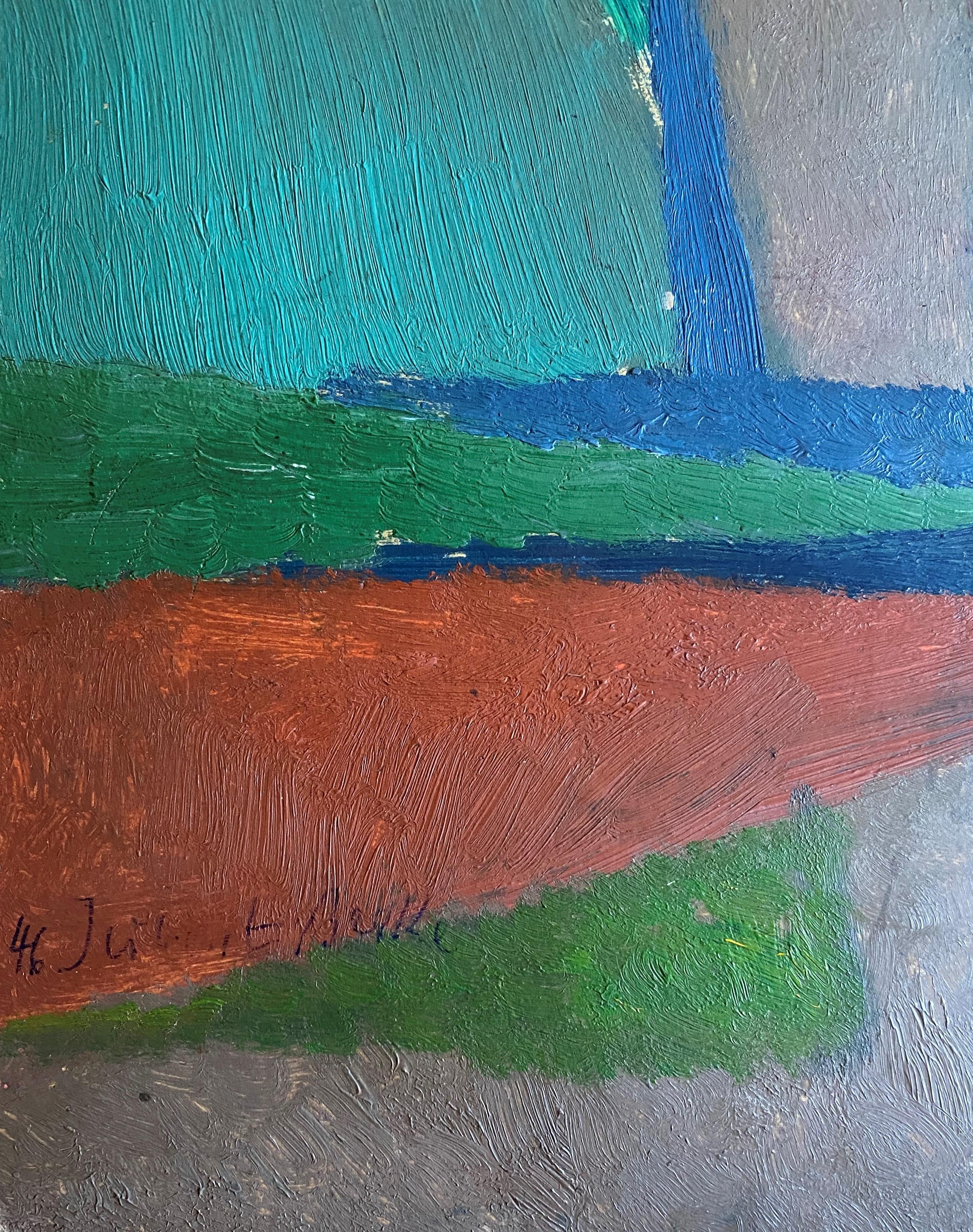 Hubert Berke (German, 1908–1979) (AR), untitled, 1946, oil on cardboard, 48 x 30 cm. - Image 2 of 2