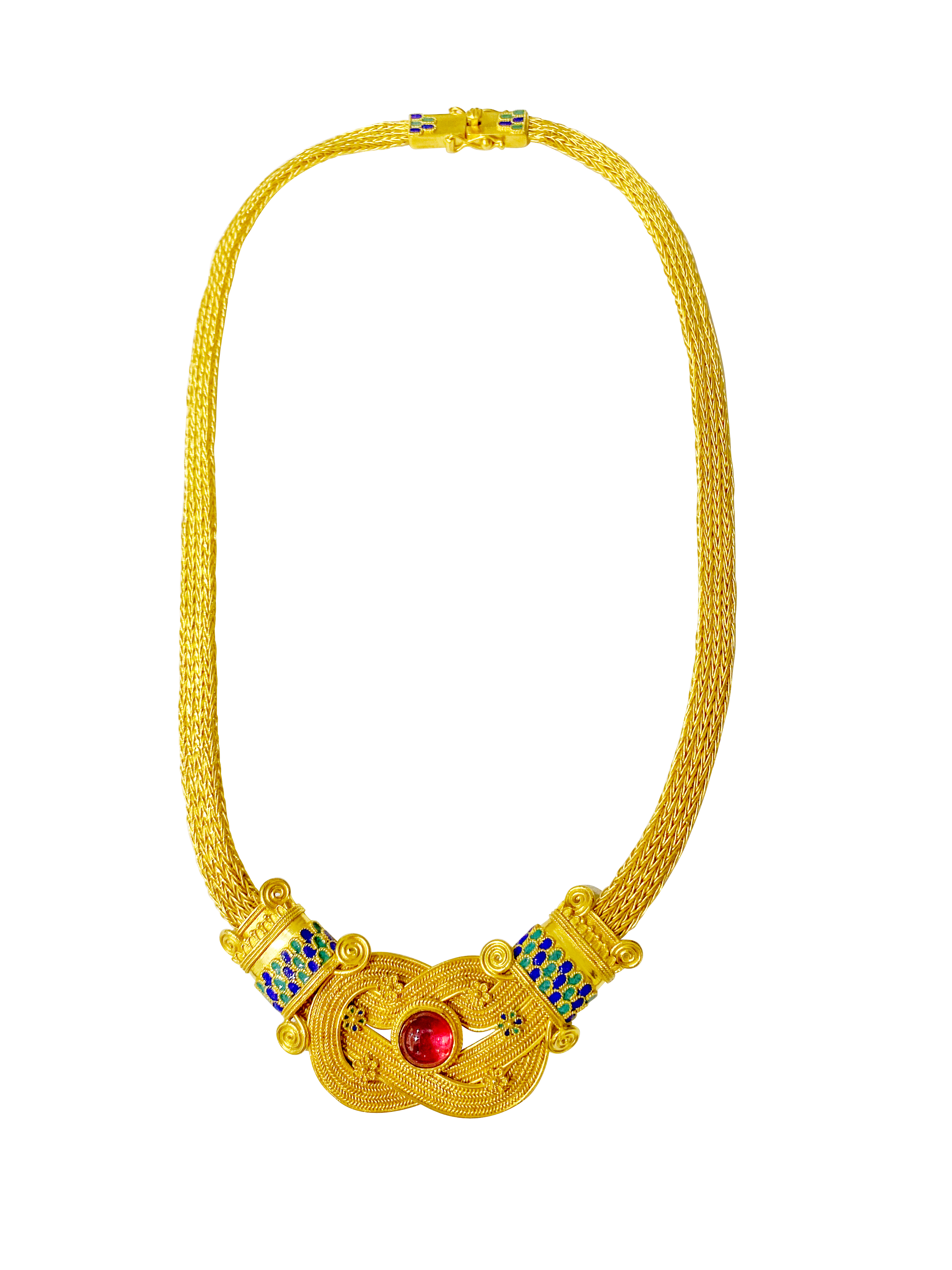 A 22K gold Ancient Greek Mycenaean style necklace with royal blue and green enamel with 4ct garnet