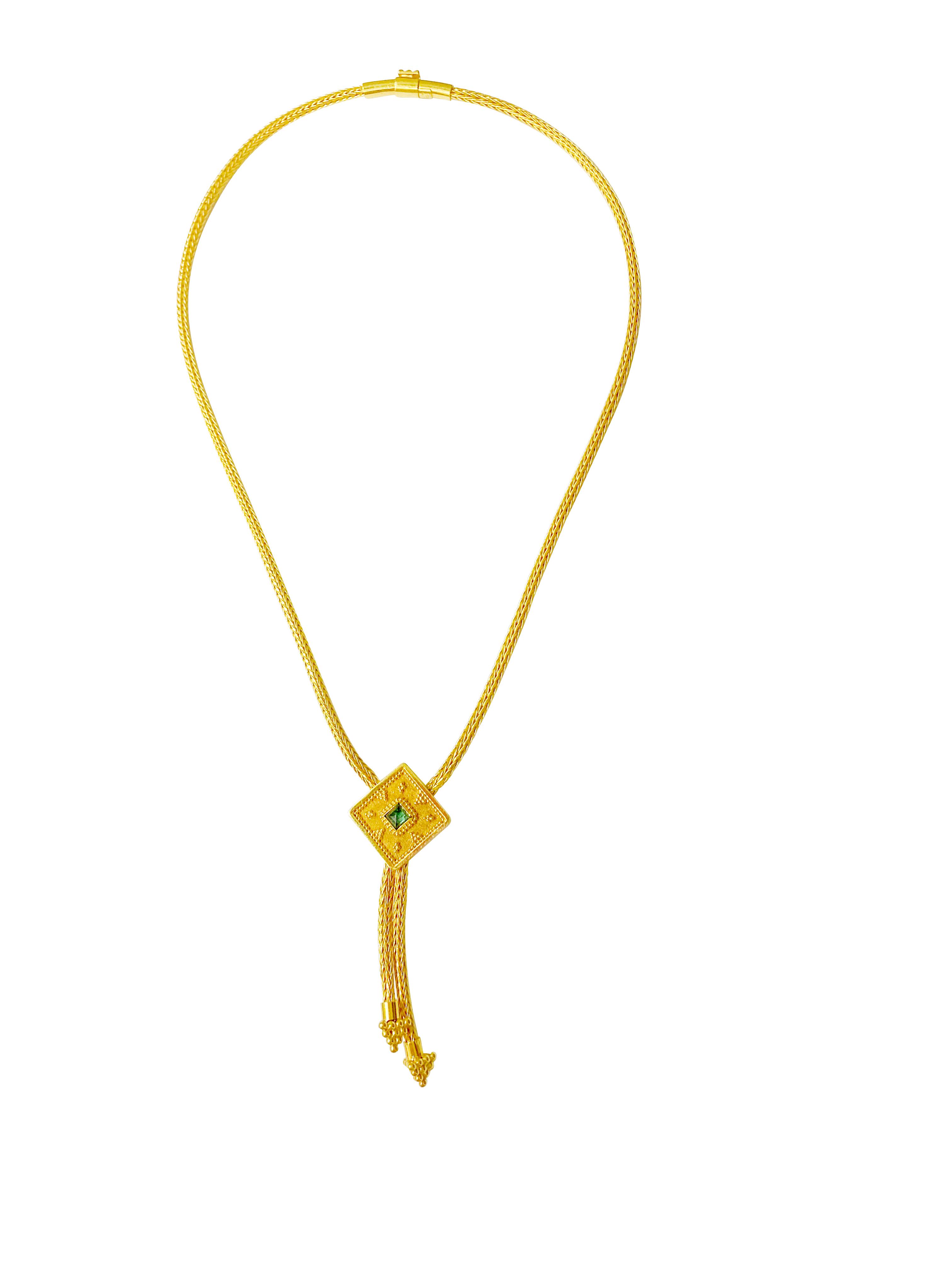 An 18K gold Byzantine style necklace.