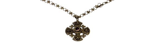 A 19th century silver Christian cross necklace. 4 x 4 cm.