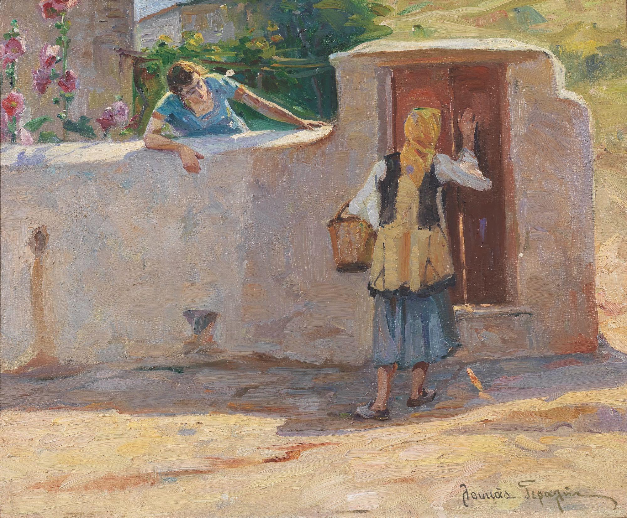 Loucas Geralis (Greek, 1875-1958) (AR), The visitor, oil on hardboard, 37 x 45 cm. - Image 2 of 2