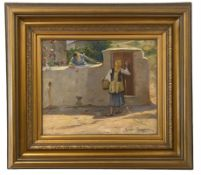 Loucas Geralis (Greek, 1875-1958) (AR), The visitor, oil on hardboard, 37 x 45 cm.