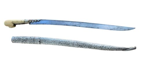 A 19th century Ottoman yatagan with silver scabbard and bone handle