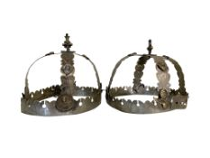 A pair of circa 1900 Greek silver wedding crowns. 17 cm (H) x 19 cm (diameter).