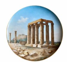 A large plate depicting the Temple of Olympian Zeus and the Acropolis of Athens, bears KPM Berlin