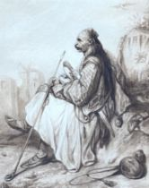 A 19th century watercolor on paper of a sitting armed Arvanite, 29 x 23 cm.