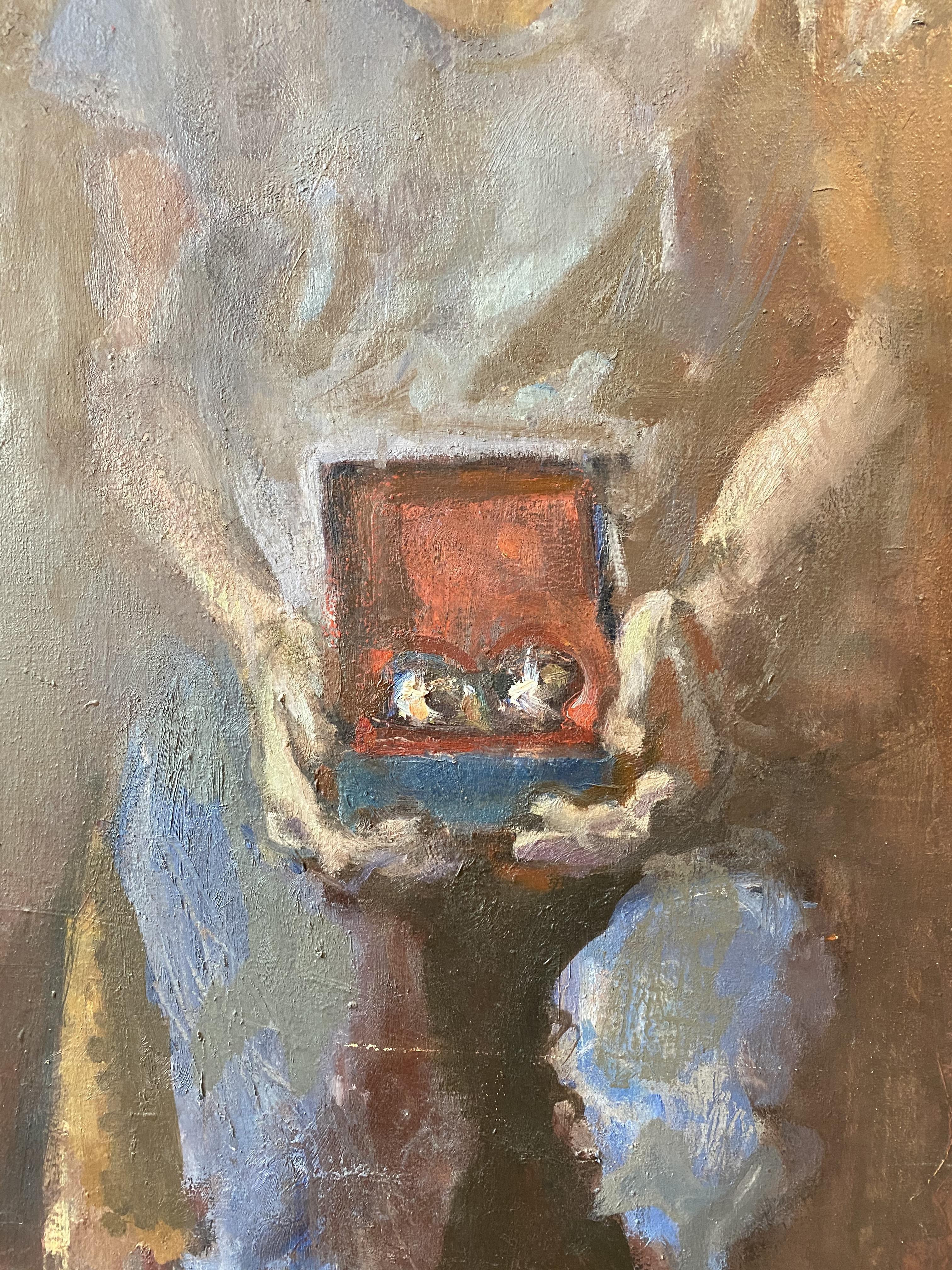 Dimitris Katsigiannis (Greek, born 1960) (AR), A Lady with a box,oil on canvas, 79 x 60 cm. - Image 2 of 3