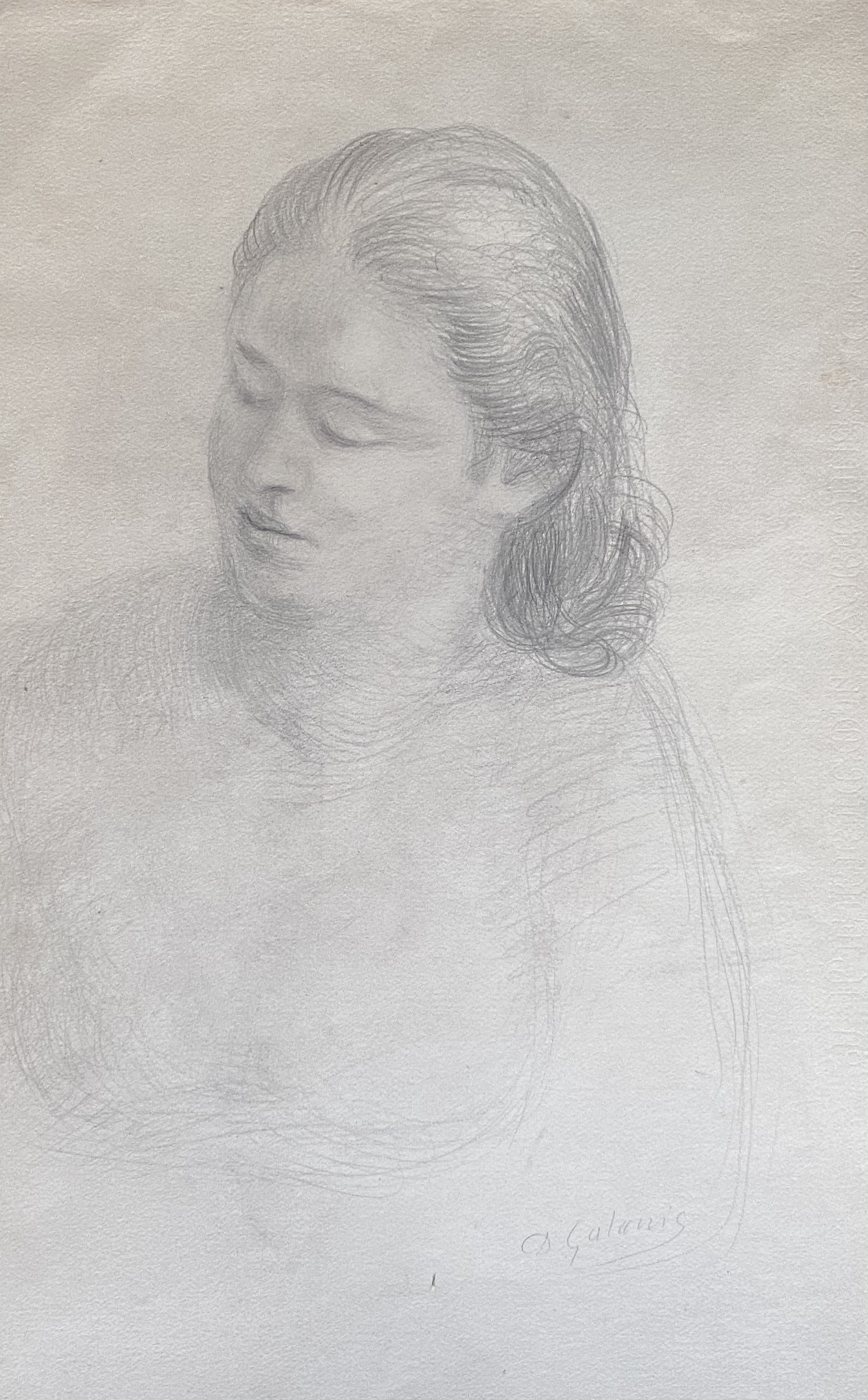 Dimitrios Galanis (Greek, 1880-1966) (AR), Portrait of a young lady, charchoal on paper, 62 x 38 cm.