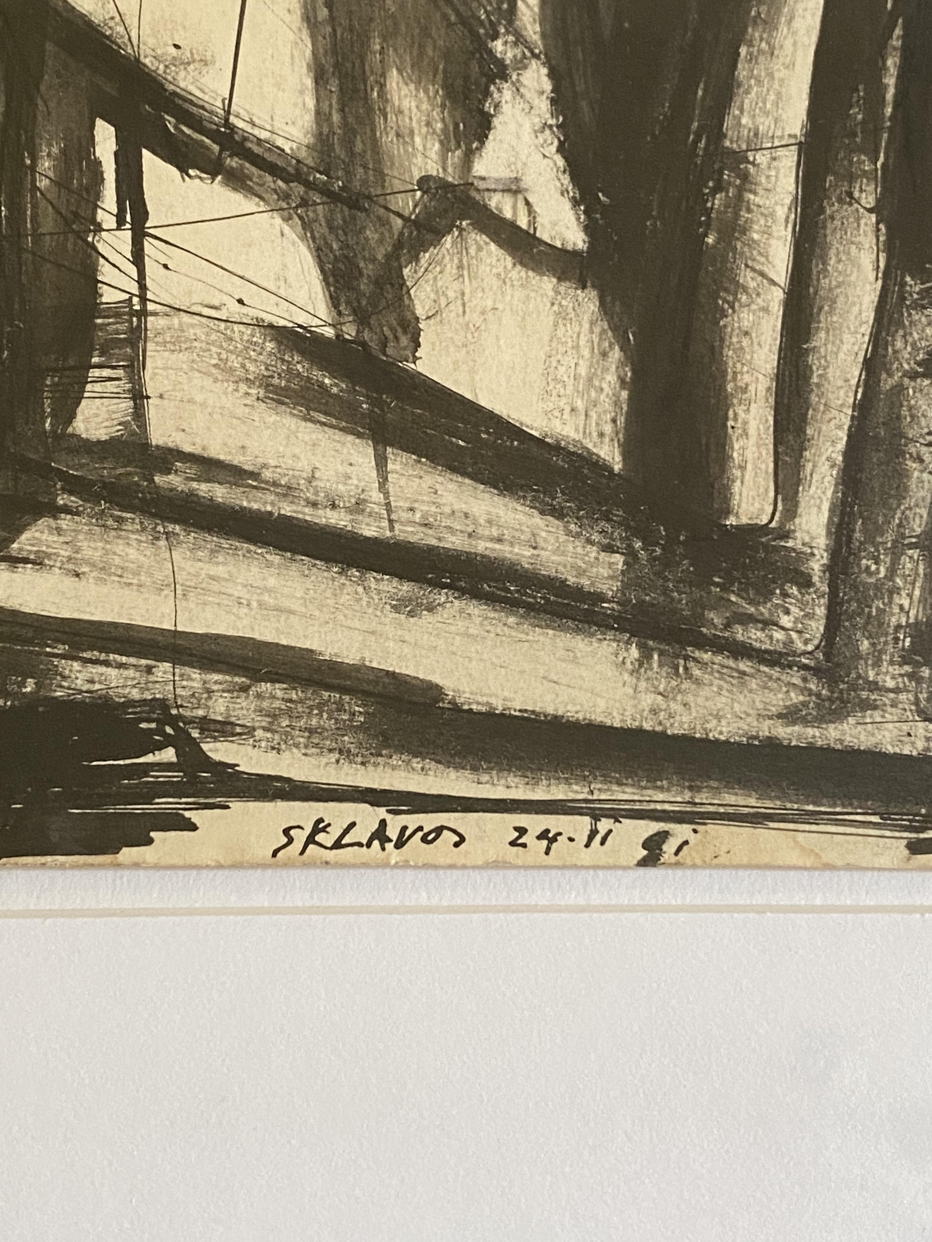 Yerassimos Sklavos (Greek, 1927-1967) (AR), untitled, 24.11.1961, ink on paper. 27.5 x 21 cm. - Image 2 of 2