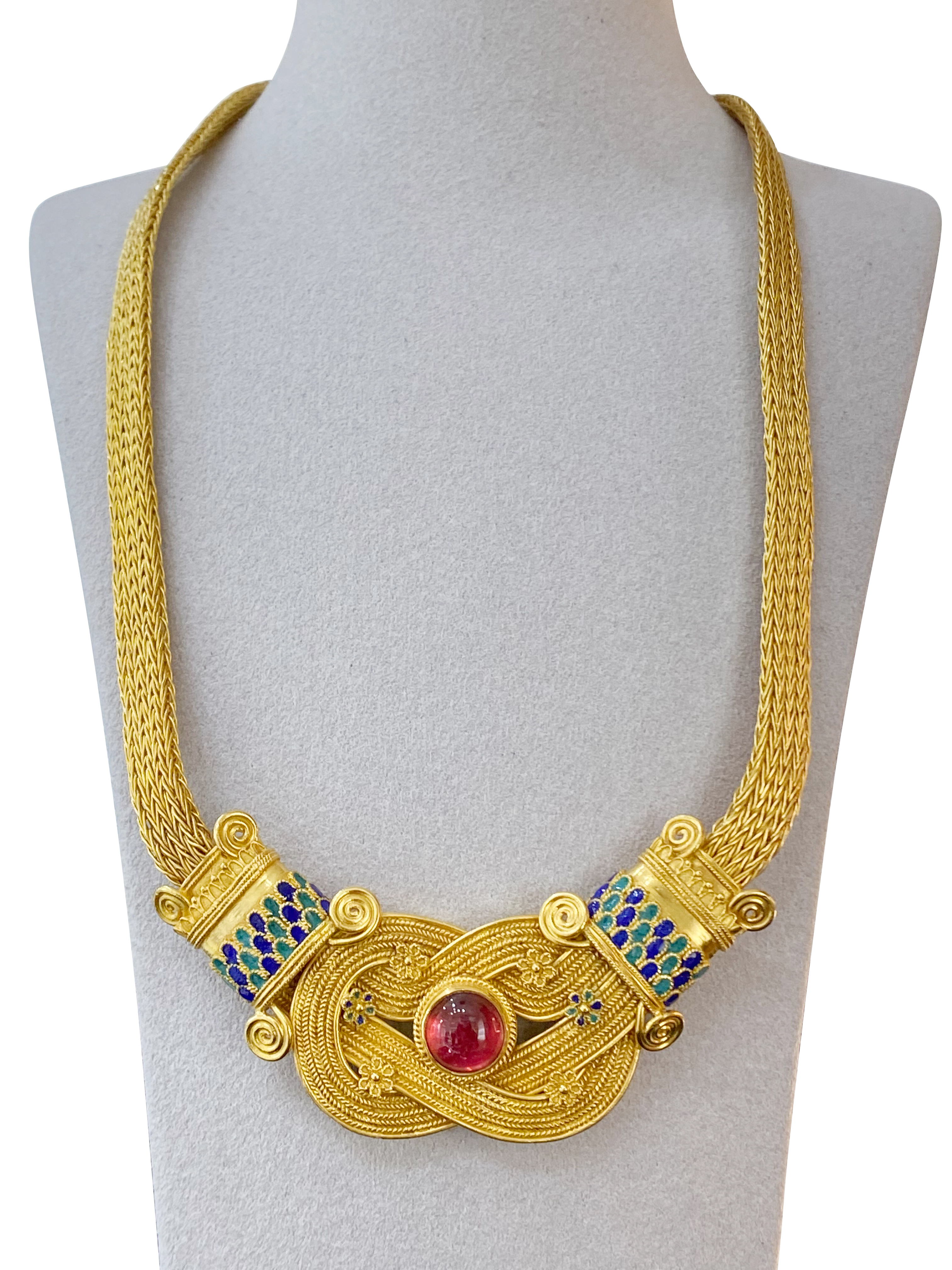 A 22K gold Ancient Greek Mycenaean style necklace with royal blue and green enamel with 4ct garnet - Image 2 of 2