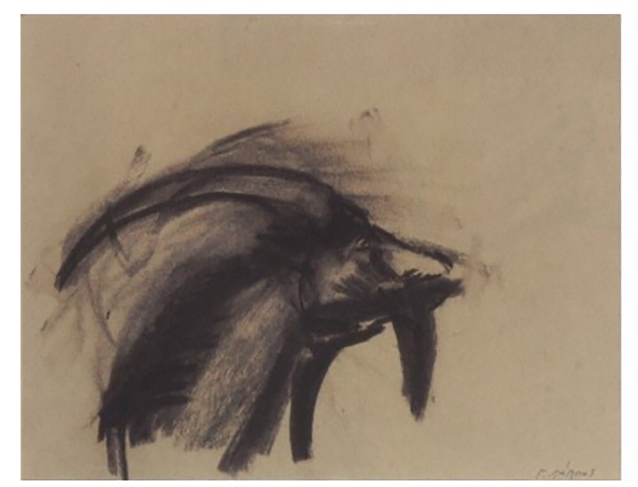 George Lappas (Greek, 1950-2016) (AR), 2 drawings in a frame, charcoal on paper - Image 3 of 3