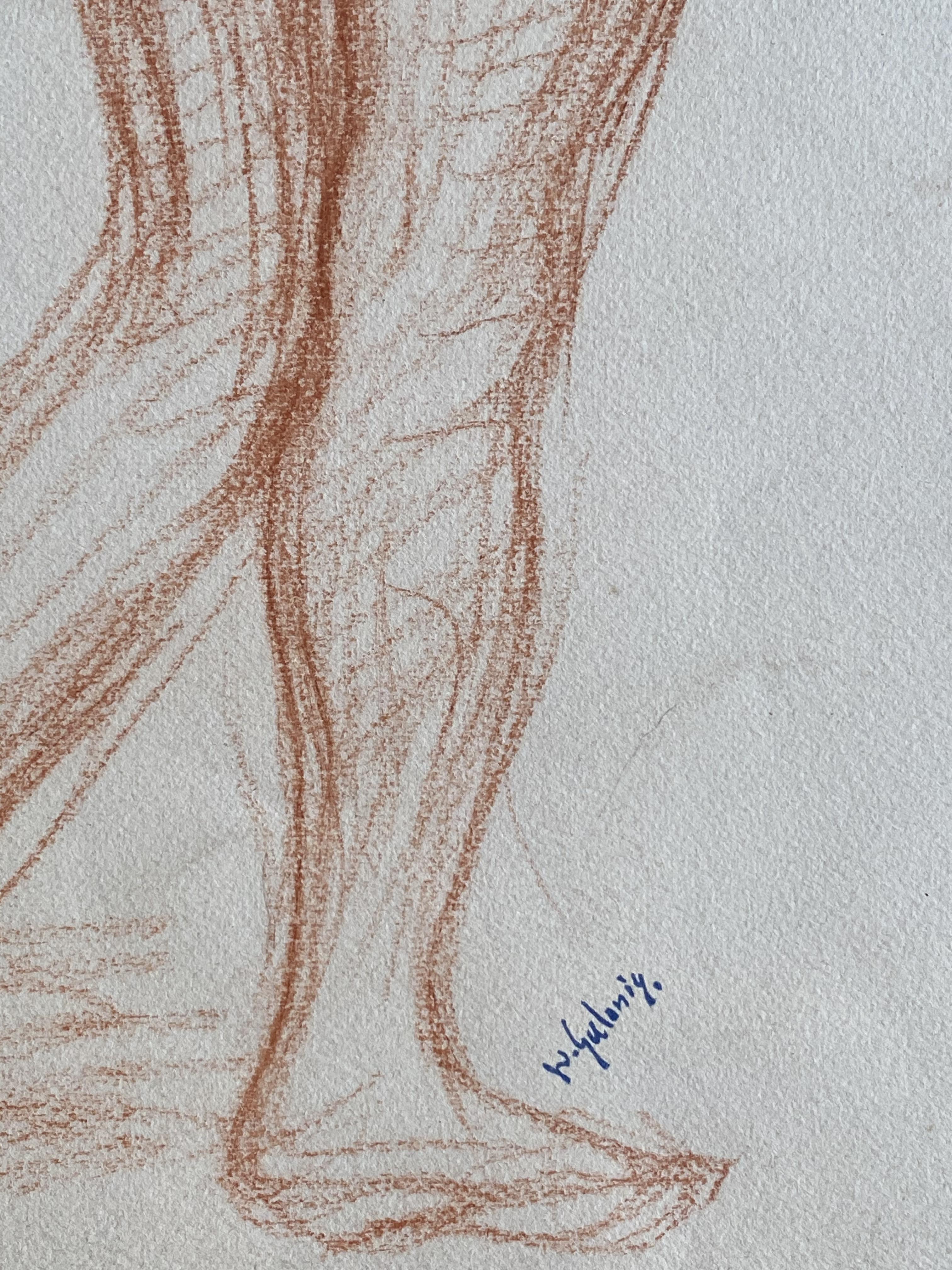 Dimitrios Galanis (Greek, 1880-1966) (AR), Two nude females, sanguine on paper, 43 x 41 cm. - Image 2 of 3