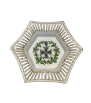 A World War I German porcelain sweet bowl with Iron Cross. 16.5 cm (W) x 20 cm (L) x 4 cm (H).