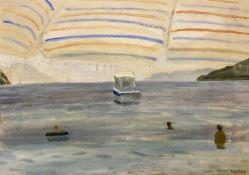 Panos Fidakis (Greek 1956-2003) (AR), View from the Umbrella, acrylic on canvas, 44 x 64 cm.