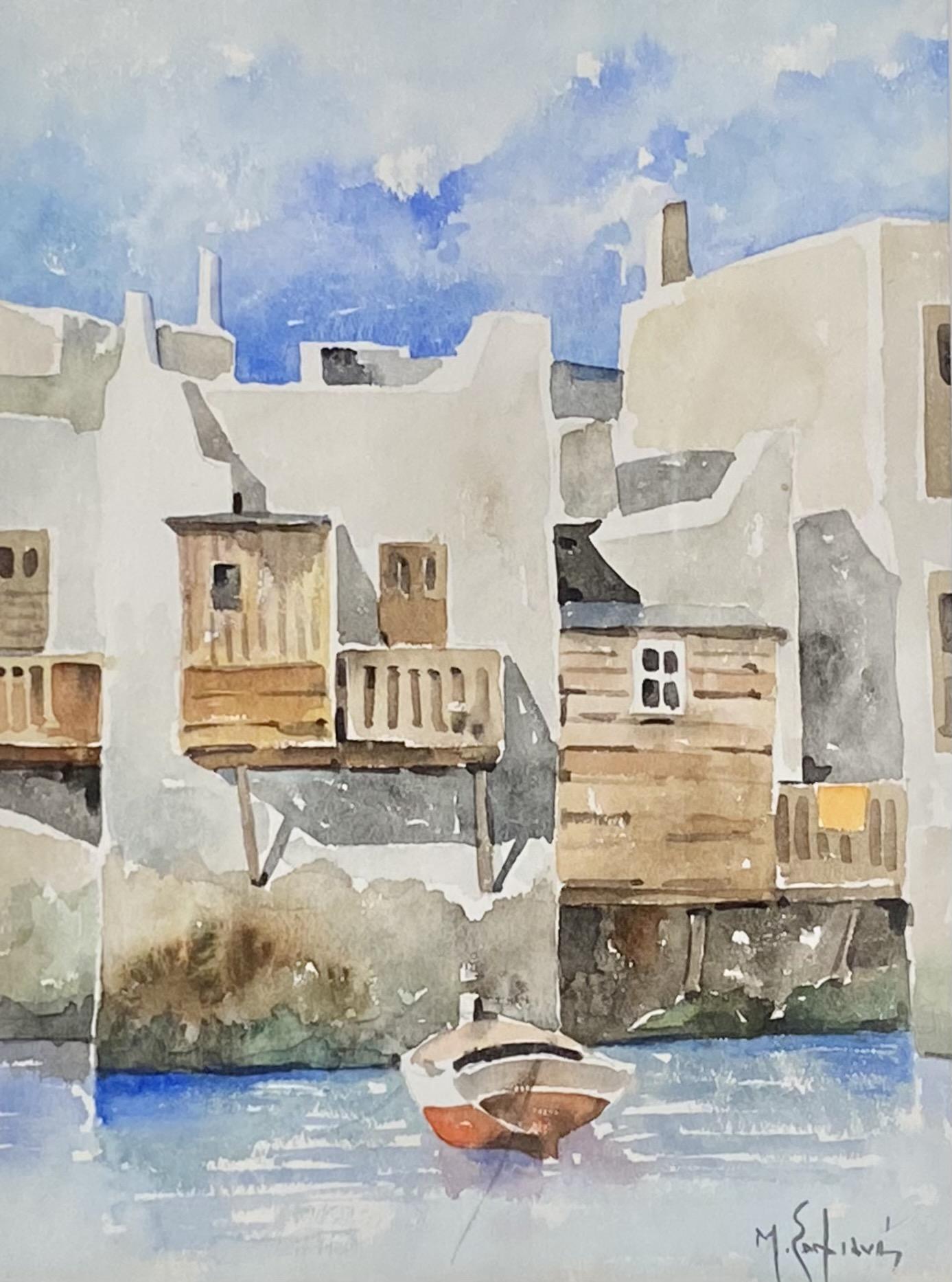 Manos Sofianos (Greek, 1922-1986), Mykonos, watercolor on paper, 31.5 x 24.5 cm.