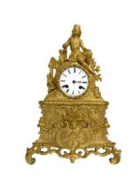 A 19th century French Philhellenic bronze mantle clock with a Greek warrior at rest