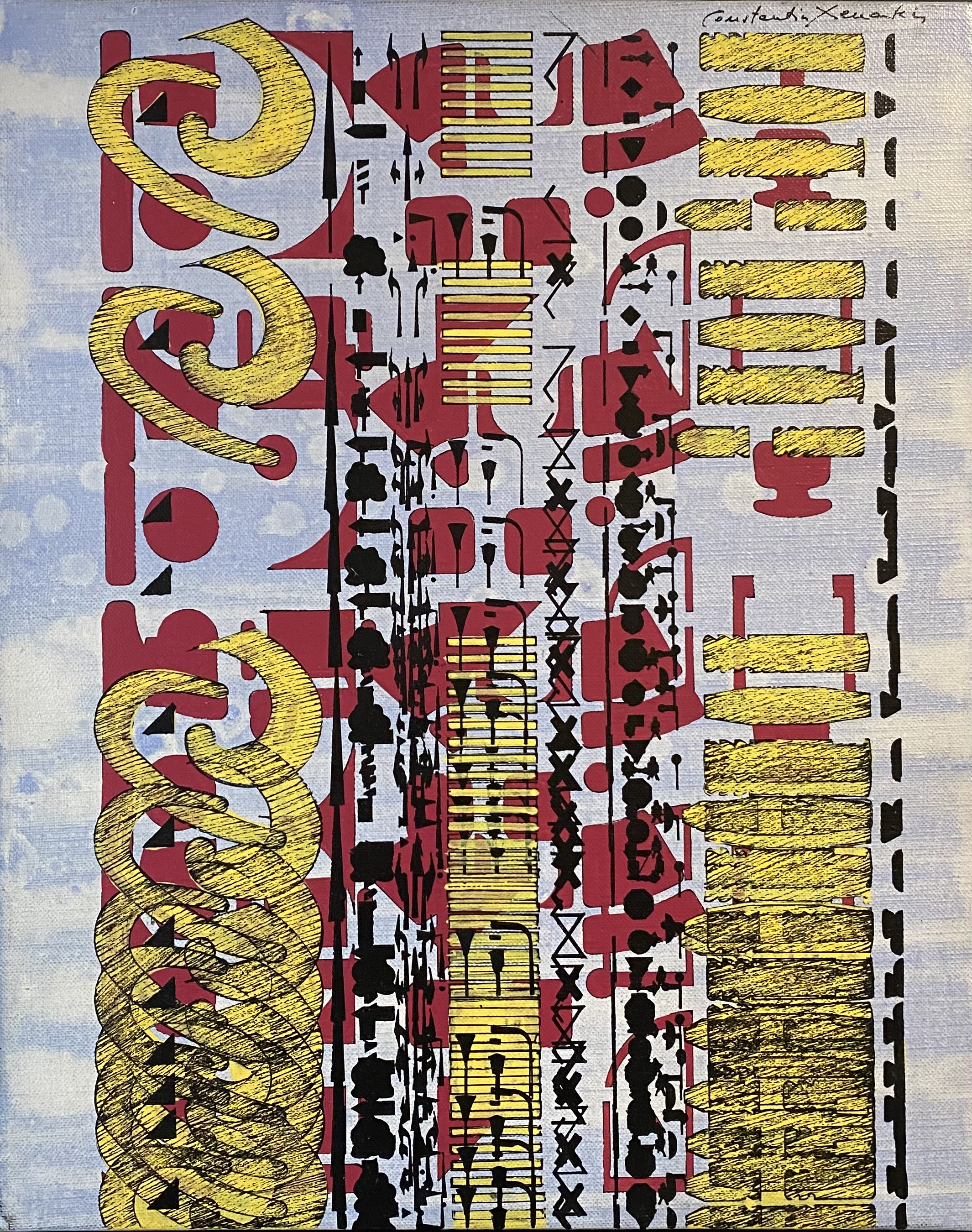 Constantin Xenakis (Greek/French, 1931-2020) (AR), Parcour A, 1987, acrylic on canvas, 41 x 33.