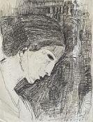 Yerassimos Sklavos (Greek, 1927-1967) (AR), untitled, 10.7.1960, ink on paper. 17.5 x 13 cm.